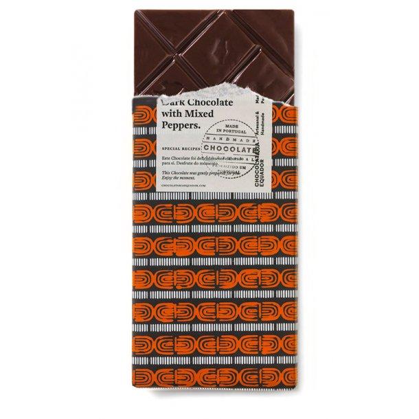 Mørk chokolade med blandet peber