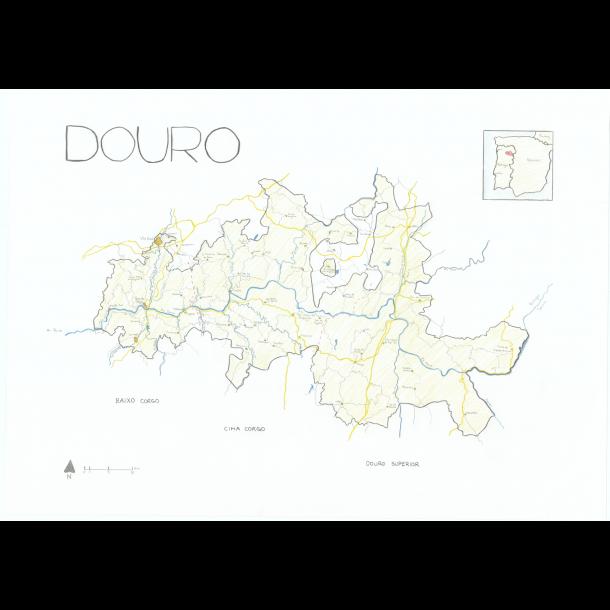 Kort over Douro - Plakat 50x70cm